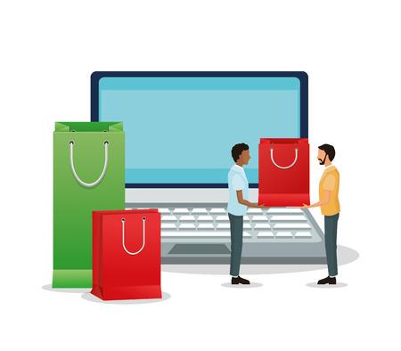 shopping bag icon: Laptop avatars and shopping bag icon. Shopping commerce market theme. Isolated and colorful design. Vector illustration Illustration