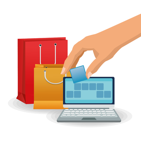 shopping bag icon: Laptop and shopping bag icon. Shopping commerce market theme. Isolated and colorful design. Vector illustration