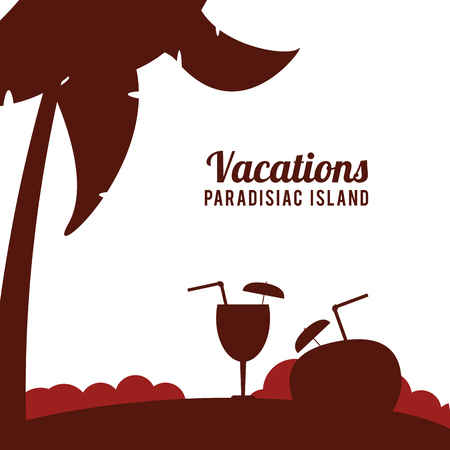 paradisiac: Coconut drink and palm tree icon. Vacations beach and summer and theme. Colorful design. Vector illustration
