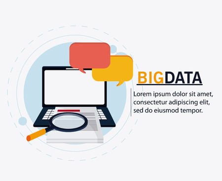 Document laptop bubble and lupe icon. Big data center base and web hosting theme. Colorful design. Vector illustration
