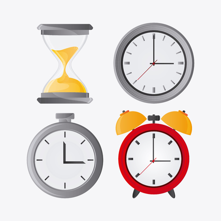 chronometer: Traditional clock hourglass and chronometer icon. Time instrument and tool theme. Colorful design. Vector illustration
