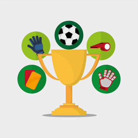 soccer ball with football related icons image vector illustration design Illustration