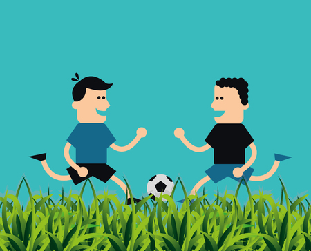 playing soccer: people playing soccer football related icons image vector illustration design Illustration