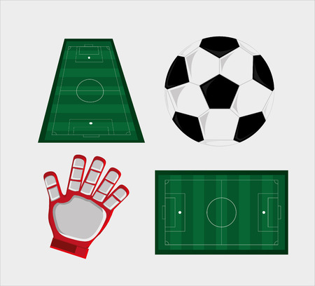 field and ball soccer football related icons image vector illustration design Illustration