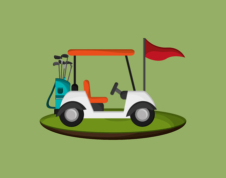 golfing: golf cart with golfing related icons image vector illustration design