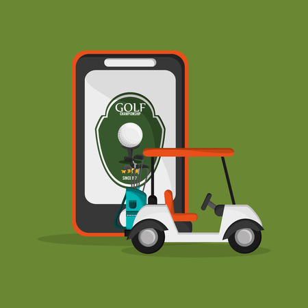 dimple: golf cart with golfing related icons and cellphone image vector illustration design