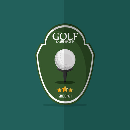 golfing: golf championship emblem with golfing related icons image vector illustration design