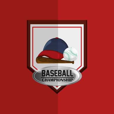 fast pitch: championship emblem baseball related icons image vector illustration design