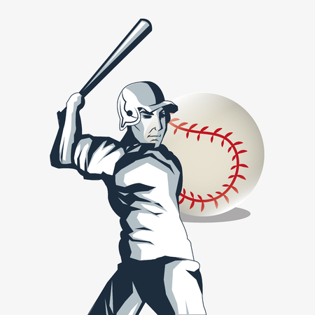 fast pitch: ball and player baseball related icons image vector illustration design Illustration