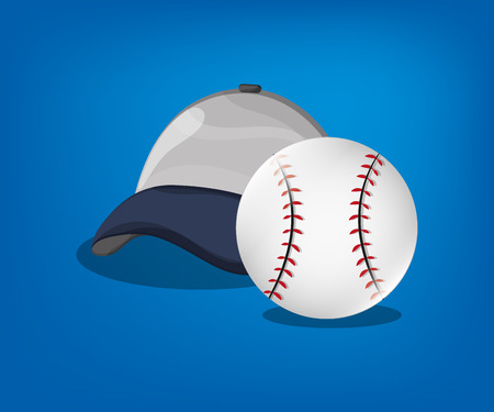 fast pitch: ball and cap baseball related icons image vector illustration design Illustration
