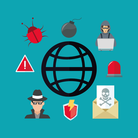 virtual security system icons image vector illustration design