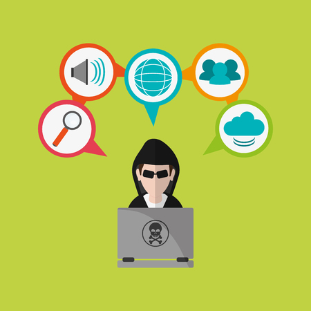 crime prevention: hacker and virtual security system icons image vector illustration design