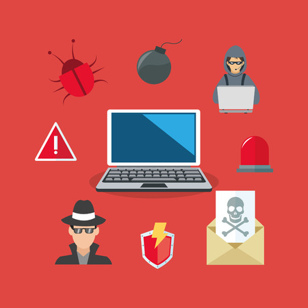 crime prevention: computer and virtual security system icons image vector illustration design