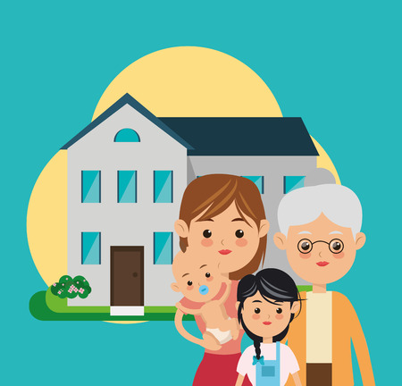 flat design traditional family in front of house image vector illustration