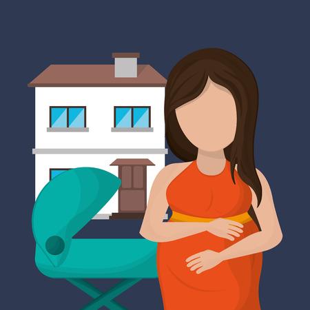 single parent family: flat design single parent family image vector illustration