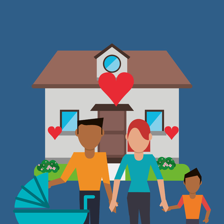 family in front of house: flat design traditional family in front of house image vector illustration