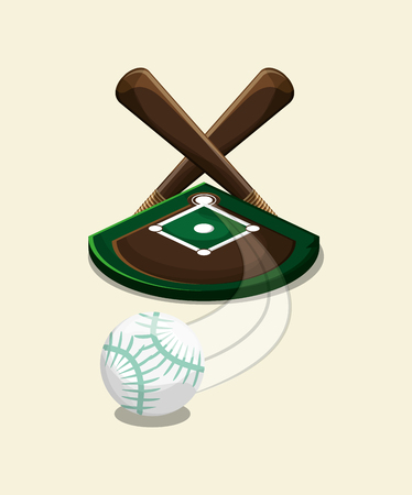 fast pitch: field and ball baseball related icons image vector illustration design