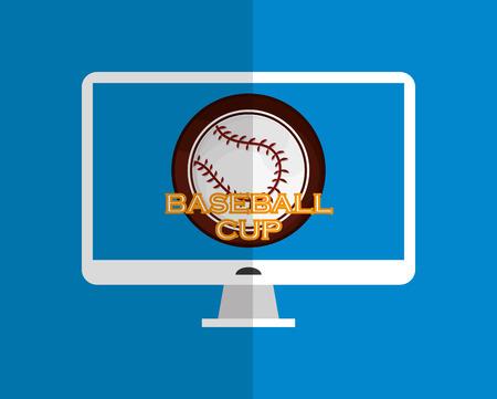 fast pitch: baseball related icons emblem vector illustration design