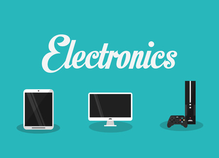 computer gaming: computer with cellphone and gaming console home electronic appliances image vector illustration