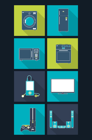 home theater: washing machine fridge microwave oven stove mp3 player tv gaming console home theater home electronic appliances image vector illustration