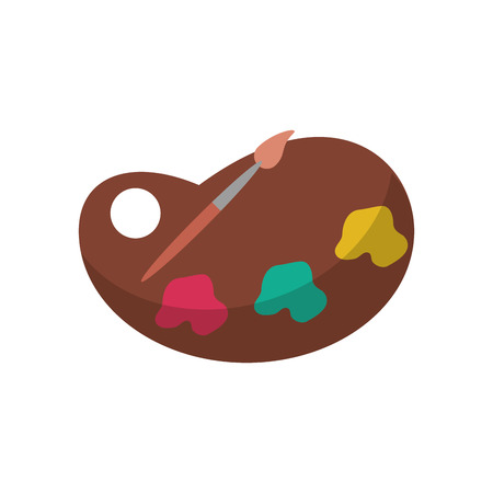 paint palette: Paint palette and brush object icon. School supply tool instrument and education theme. Isolated design. Vector illustration