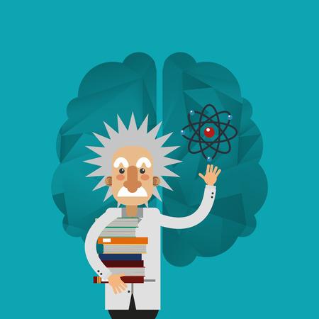 einstein: albert einstein and brain icon image vector illustration design