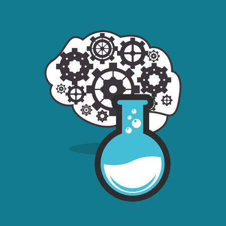 at the bottom of: human brain with gears inside and round bottom flask icon image vector illustration design