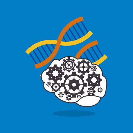 strand: human brain with gears inside and dna strand icon image vector illustration design