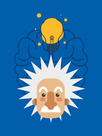 albert einstein and brain icon image vector illustration design