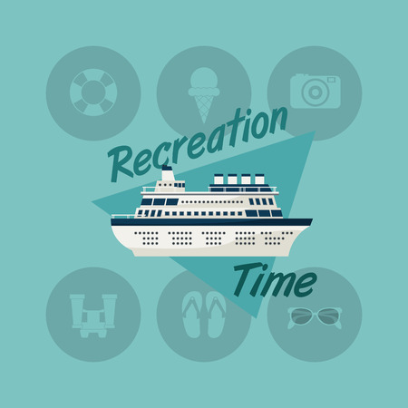 caribbean cruise: cruise ship with travel vacation or holidays related icons image vector illustration