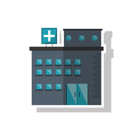 injure: Hospital building icon. Medical and health care theme. Isolated design. Vector illustration Illustration