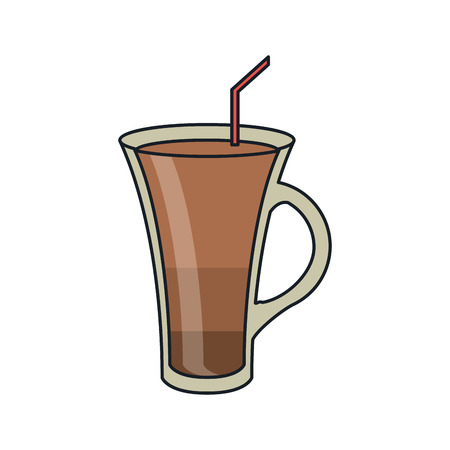 coffee glass icon. Coffe time drink breakfast and beverage theme. Isolated design. Vector illustration