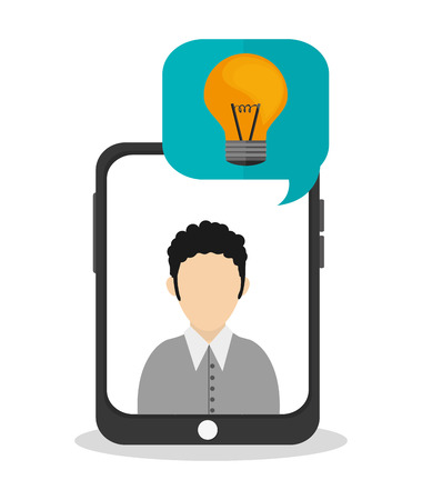 great idea: Man inside tablet with light bulb icon. Big and great idea theme. Colorful design. Vector illustration Illustration