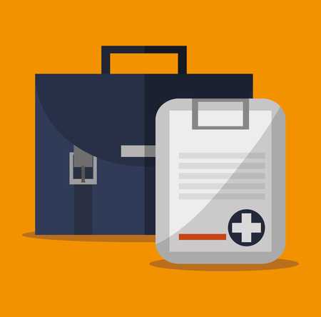 urgent care: Insurance document and cross icon. Medical and health care theme. Colorful design. Vector illustration