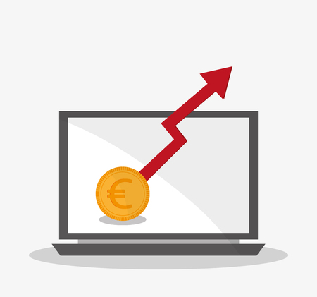 financial item: Coin laptop and arrow icon. Money financial item and commerce theme. Isolated design. Vector illustration Illustration