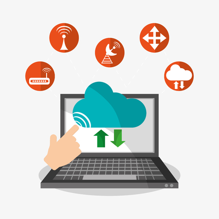 Laptop icon. Cloud computing storage and technology theme. Colorful design. Vector illustration Illustration