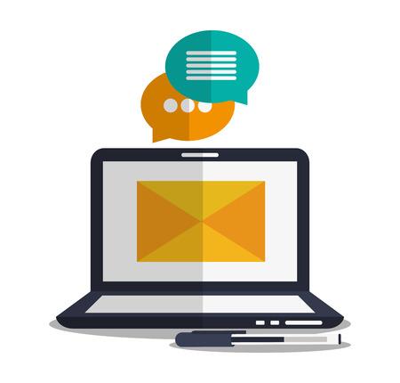 bubble pen: Envelope bubble pen and laptop icon. Email message and letter theme. Colorful design. Vector illustration