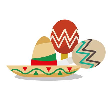 maraca: Hat and maraca icon. Mexico mexican culture landmark and latin theme. Colorful design. Vector illustration