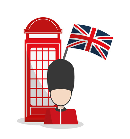 Telephone and soldat icon. London england landmark and tourism theme. Colorful design. Vector illustration