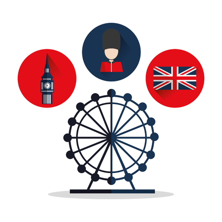 Big ben flag eye and soldat icon. London england landmark and tourism theme. Colorful design. Vector illustration
