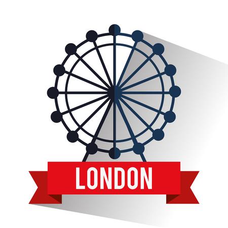 london eye: Eye wheel icon. London england landmark and tourism theme. Colorful design. Vector illustration