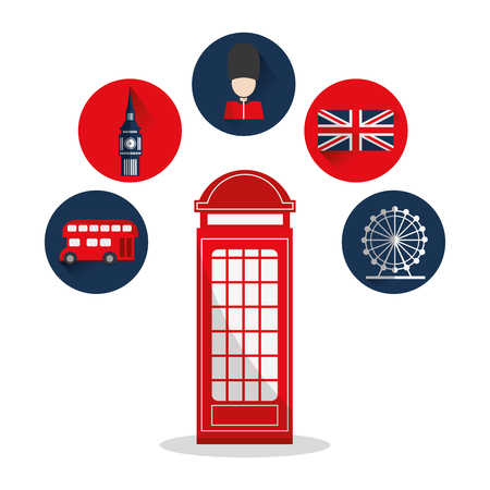 Big ben eye flag telephone bus and soldat icon. London england landmark and tourism theme. Colorful design. Vector illustration