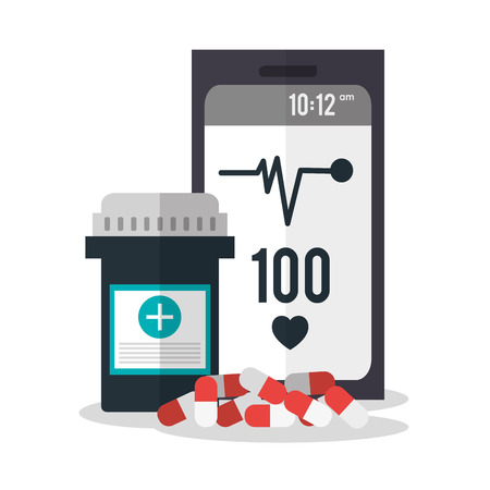 urgent care: Smartphone and medicine icon. Medical and health care theme. Colorful design. Vector illustration