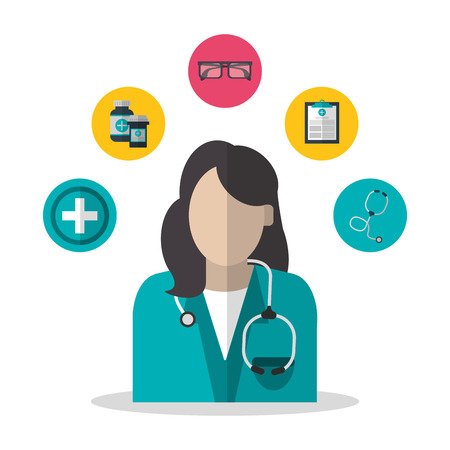 Woman doctor icon. Medical and health care theme. Colorful design. Vector illustration