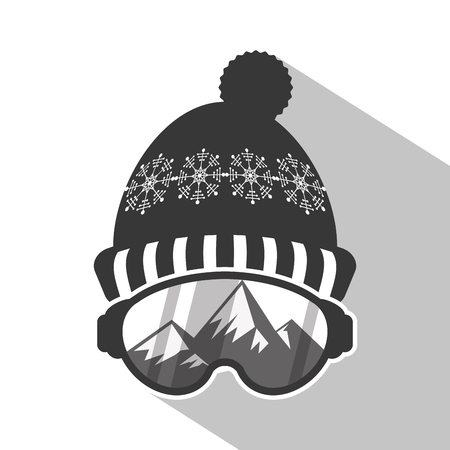 Hat and glasses icon. Winter sport hobby and recreation theme. Isolated design. Vector illustration