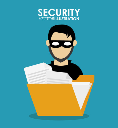 menace: Hacker cartoon icon. Security system warning and protection theme. Colorful design. Vector illustration