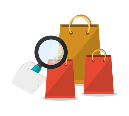 Bag lupe and search icon. Shopping online ecommerce and media theme. Colorful design. Vector illustration Illustration