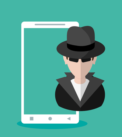 Hacker cartoon and smartphone icon. Security system warning and protection theme. Colorful design. Vector illustration Illustration