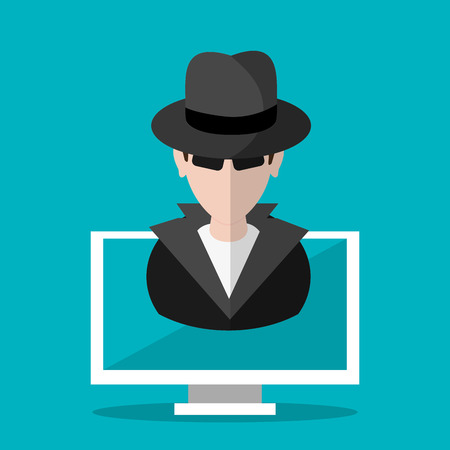 detected: Hacker cartoon and computer icon. Security system warning and protection theme. Colorful design. Vector illustration