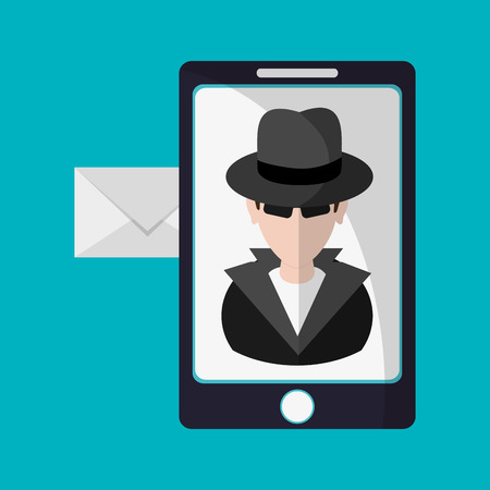 detected: Hacker cartoon envelope and smartphone icon. Security system warning and protection theme. Colorful design. Vector illustration Illustration